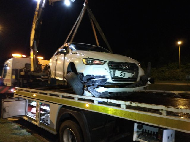 A Shirebrook drink driver crashed his car into a bush on Saturday evening.
