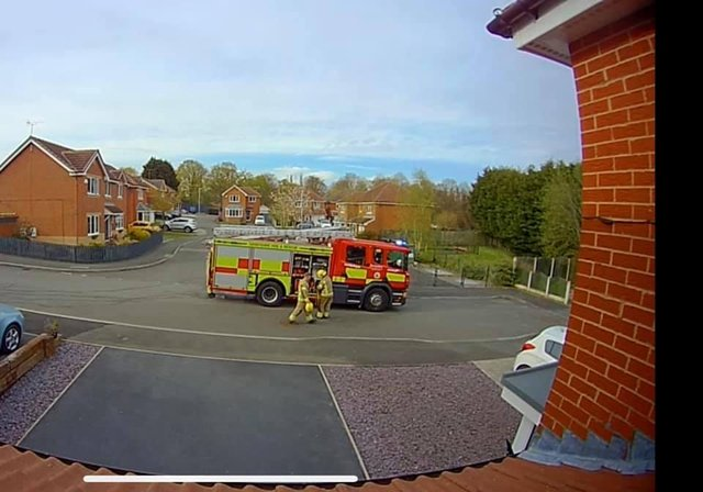 Firefighters deal with the blaze near a Chesterfield school. Image: Jonathan Reed.