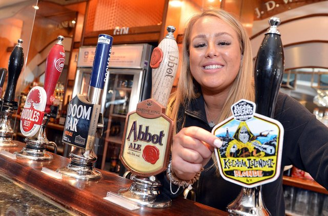 Pub manager Emily Bird at Spa Lane Vaults Chesterfield, which re-opened on Monday