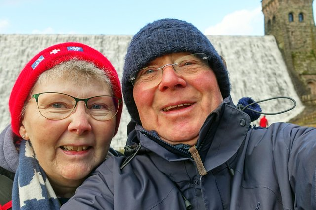 Keith and Kate by Derwent Dam in 2018.