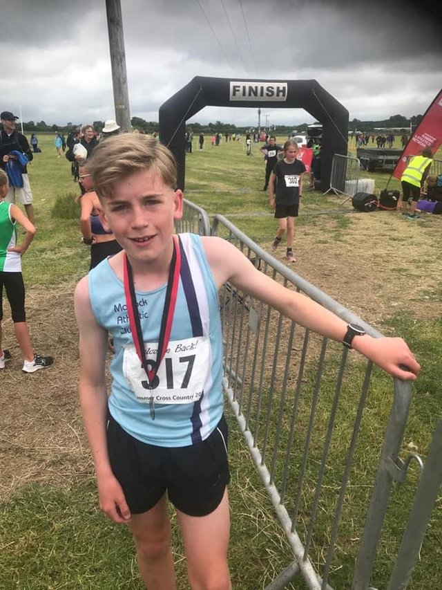 Logan Fairey at the National open schools cross country on Saturday at Market Harborough.