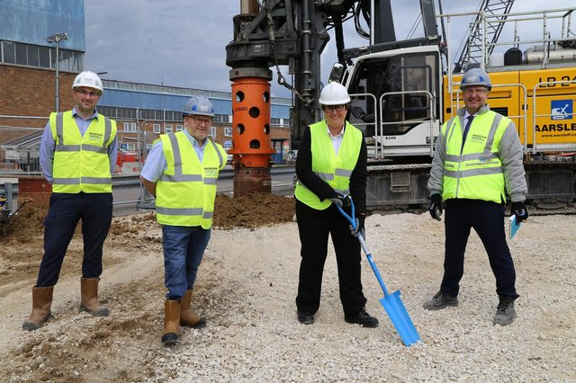 Pictured at the new Jewson site are James Garnett, project director, Morgan Sindall Construction; Coun Dean Collins Chesterfield Borough Council member for economic development, Chesterfield Borough leader Coun Tricia Gilby and Andy Hall, Yorkshire and North East managing director, Morgan Sindall.