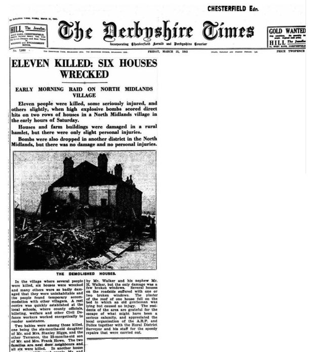 How the Derbyshire Times reported the atrocity on March 15, 1941.