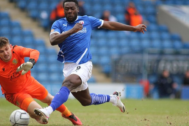 Akwasi Asante scored Chesterfield's first goal in their win against Yeovil Town.