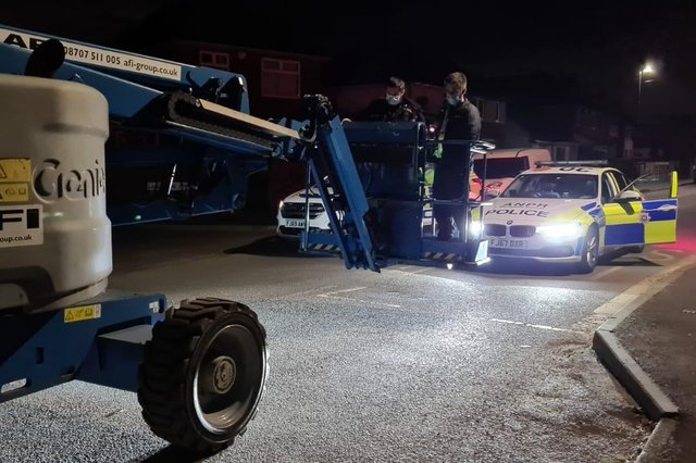 Two people stole a cherry picker in Bolsover.
