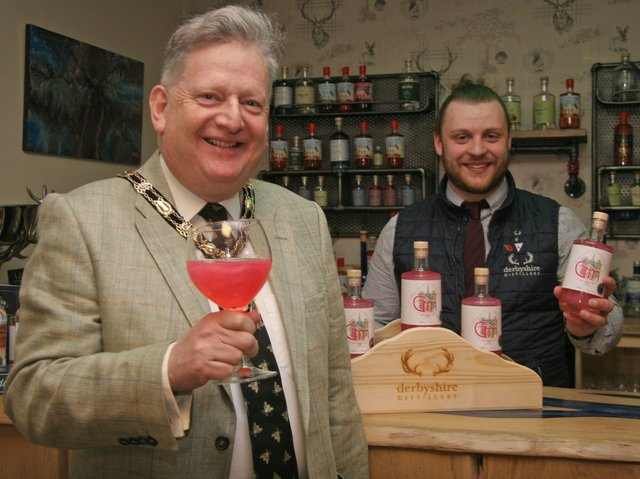 North East Derbyshire District Council chairman Martin Thacker launches his charity pink gin with Oliver Meakin, head distiller and blender of Derbyshire Distillery.