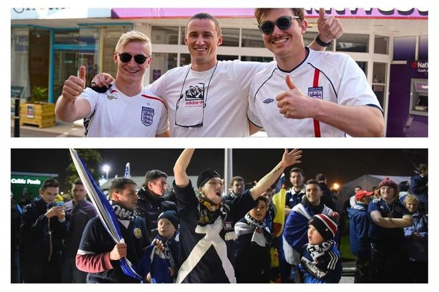 England and Scotland meet this week in the Euros. Photos: Hugh Hastings/Jeff J Mitchell/Getty Images