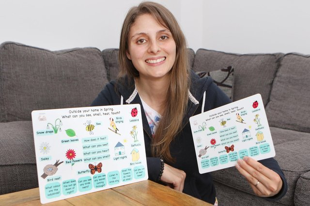 Chloe Pillar, founder of Our Play Den, with the mindful boards which she says can support mental health in young children