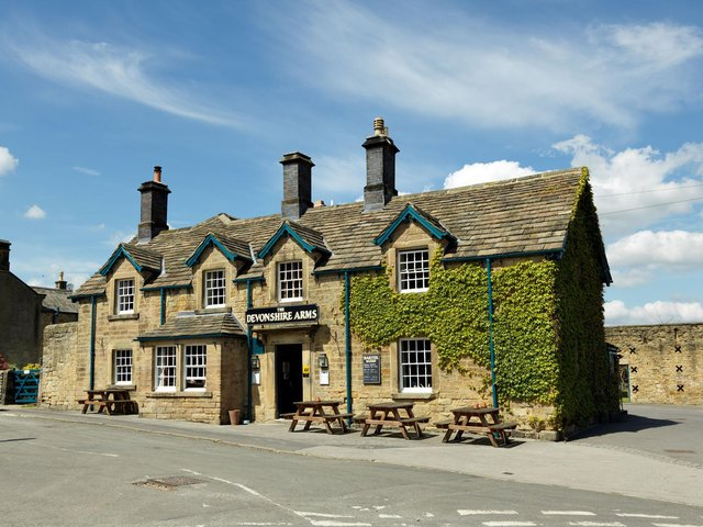 The 300-year-old Devonshire Arms at Pilsley is renowned for its traditional seasonal menus.
