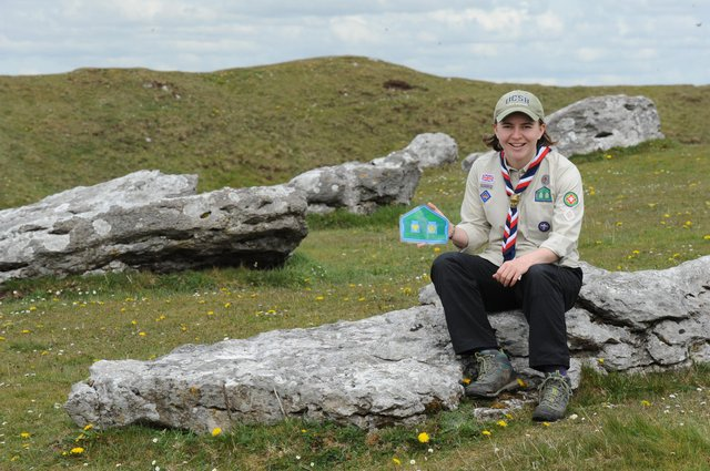 Morgause Lomas, team lead Derbyshire Scout Archaeology, at Arbor Low.