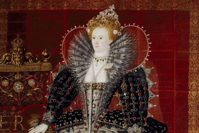 QUEEN ELIZABETH I, Studio of Nicholas Hilliard. 88 inches (inc 9 inch later extension below) x 66 and 1/2 inches (223x165 cm).Credit: Hardwick Hall/The Devonshire Collection (acquired through the National Land Fund and transferred to the National Trust in 1959)