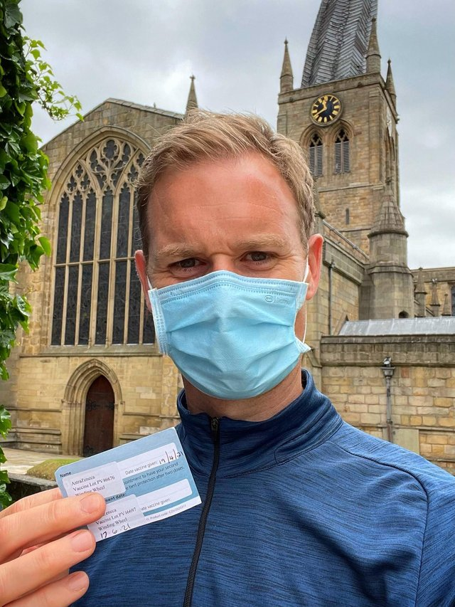 Dan Walker thanked volunteers at The Winding Wheel vaccination site in Chesterfield for such a 'smooth and speedy' operation