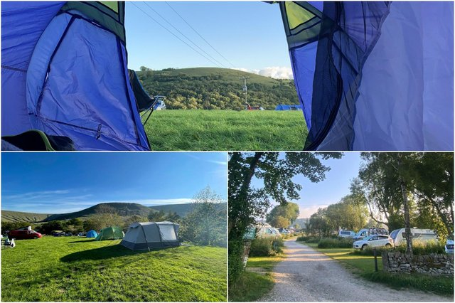 Beltonville Farm, Buxton (photo: Pitchup.com);  Dale Farm Rural Campsite,  Great Longstone; Upper Booth Farm, Edale (photo: National Trust), pictured clockwise from top.