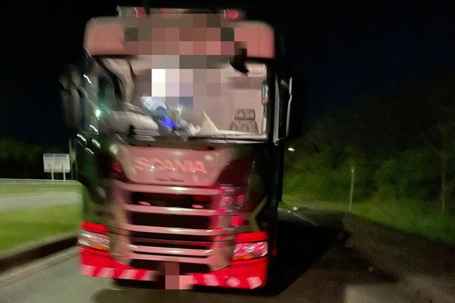 A lorry driver was caught watching tv while travelling on the M1.