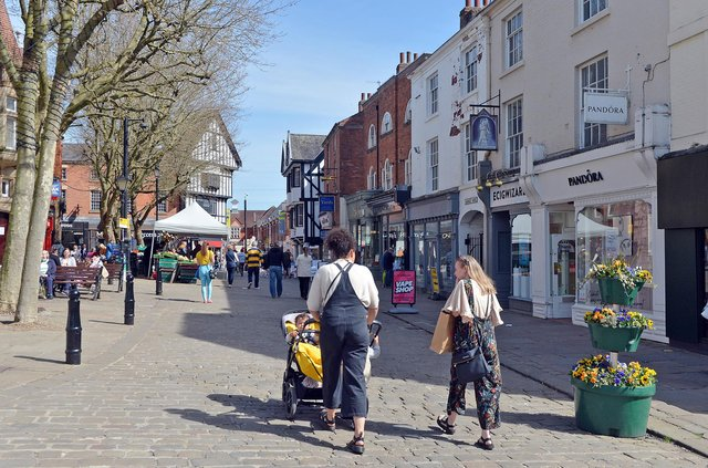 Chesterfield town centre busy in the spring sun.