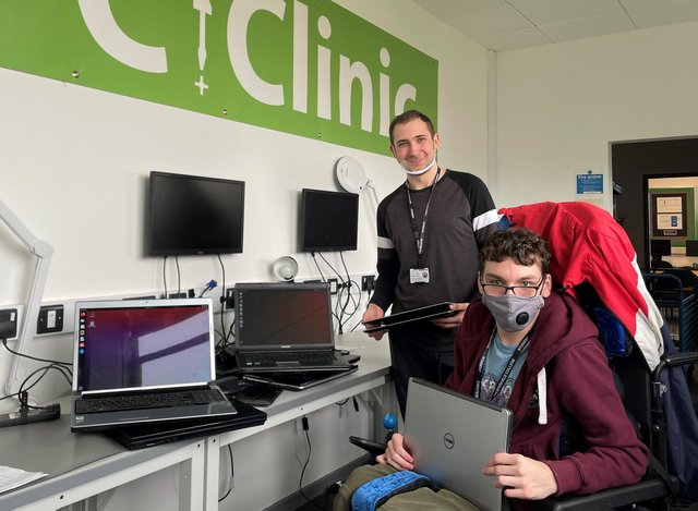 Digital Technologies students Michal Brogowski and Marcus Roe with laptops they are refurbishing