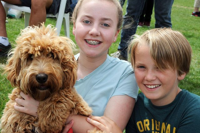 Alex Ewin, 11, and his sister, Sophie, 14, with cockerpoo Jasper, at a fun dog show organised by the RSPCA Chesterfield and North Derbyshire branch.
