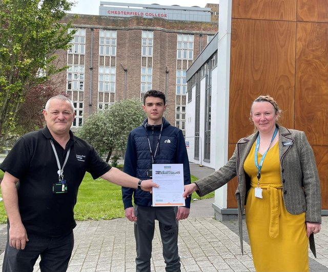 Terry Brickles from Chesterfield College and Janine Borderick from Robert Woodhead Ltd with apprentice Aaron Wathall