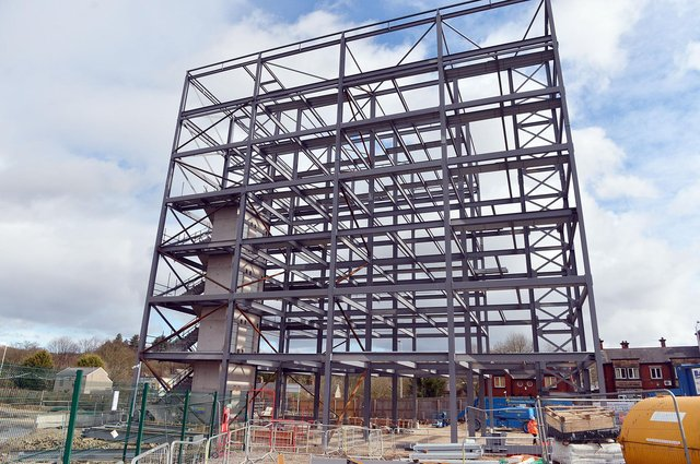 The steel frame of One Waterside Place, a seven-storey office block at Chesterfield Waterside, is complete.
