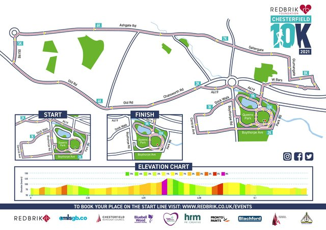 The route of the new Chesterfield 10K event.