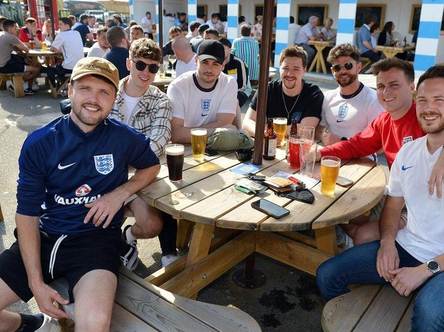 Football fans at The Spotted Frog cheered England to victory in their match against Germany.