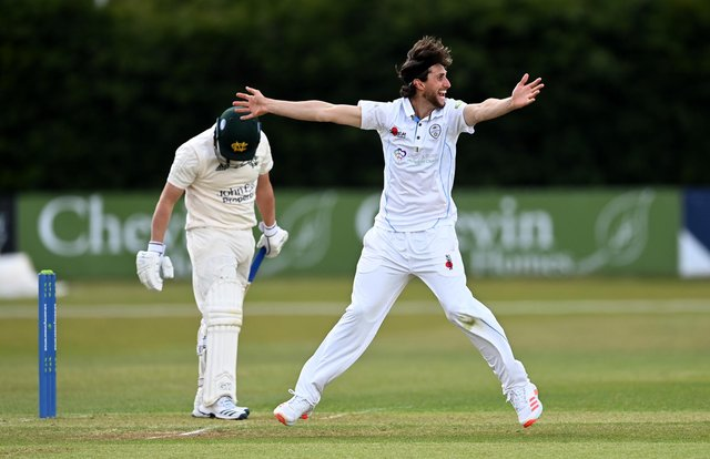 Fynn Hudson-Prentice of Derbyshire successfully appeals for the wicket of Nottinghamshire captain Steven Mullaney during the LV= Insurance County Championship match between at Derbyshire and Nottinghamshire The Incora County Ground (Photo by Gareth Copley/Getty Images)