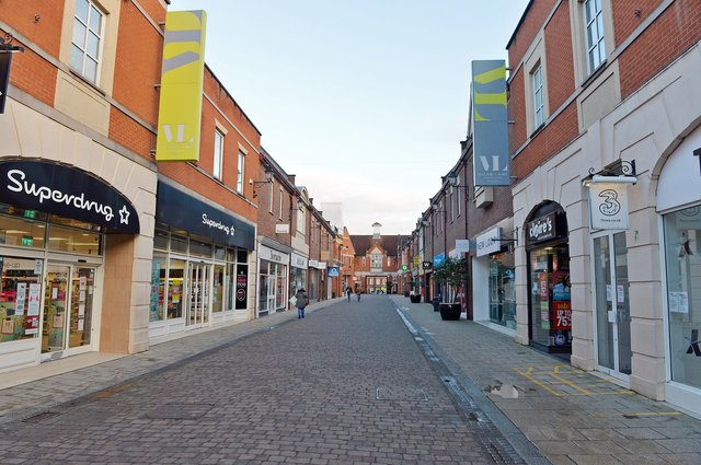 The almost deserted streets of Chesterfield town centre in lockdown.