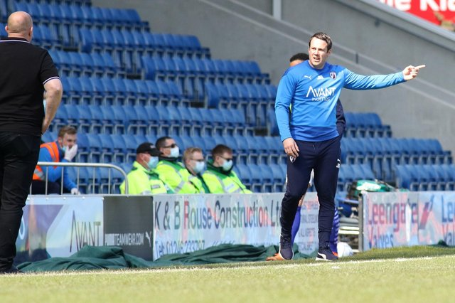 Chesterfield boss James Rowe on the touchline against Bromley on Saturday.