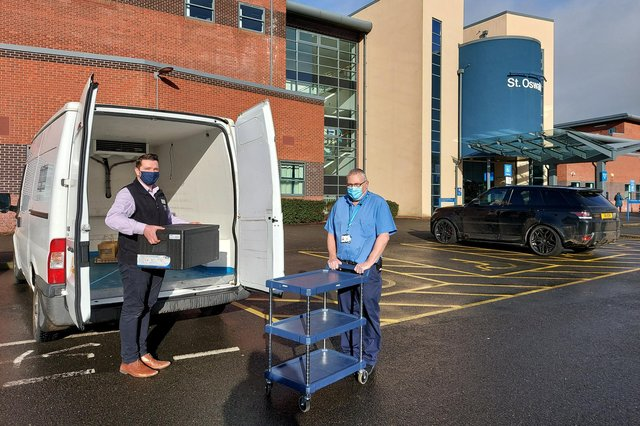Ready meals created by Chatsworth chefs are delivered to St Oswald's Hospital, Ashbourne. Chatsworth House Trust.