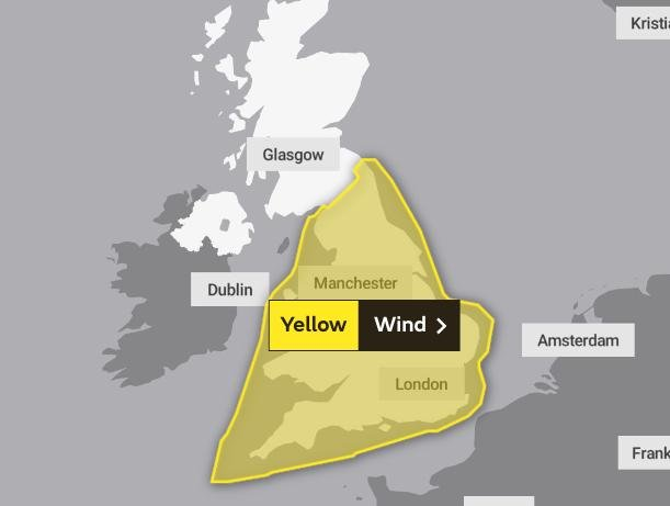 A yellow weather warning remains in place for Derbyshire as strong winds bring gusts of up to 70mph. Photo: Met Office