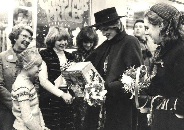 Princess Diana receives a gift on her visit to Chesterfield to open The Pavements shopping centre in 1981.