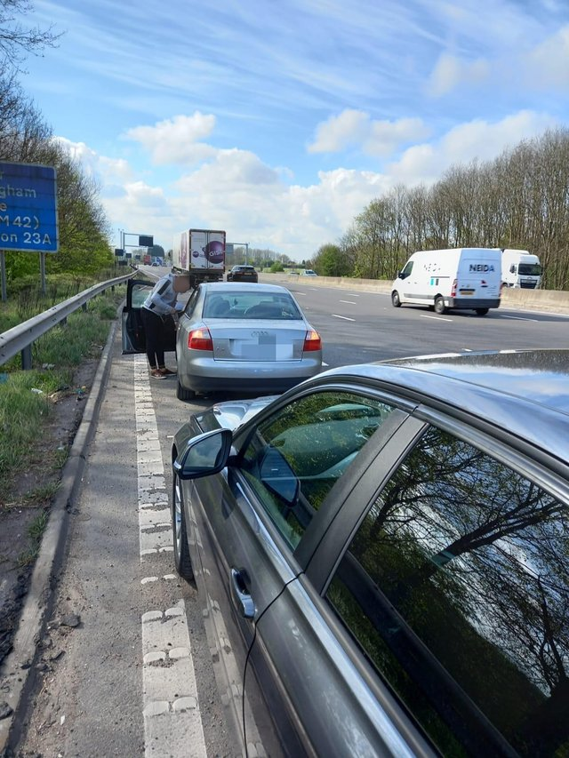 Police caught up with the driver at Tibshelf services. Image: Derbyshire RPU.