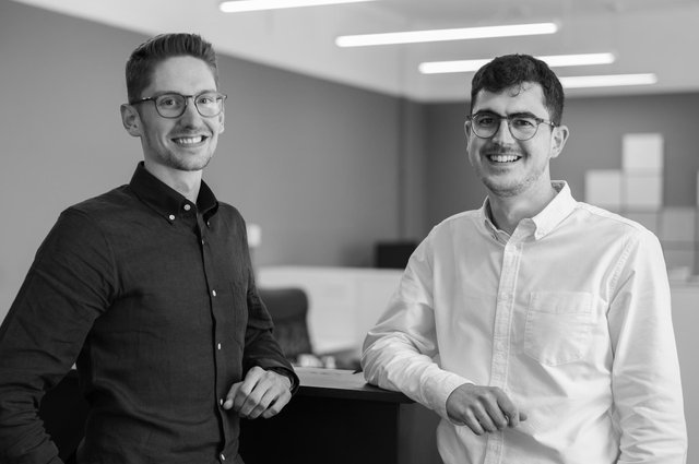 Nathan Stocks and Will Beesley in the Peak Architects' office.