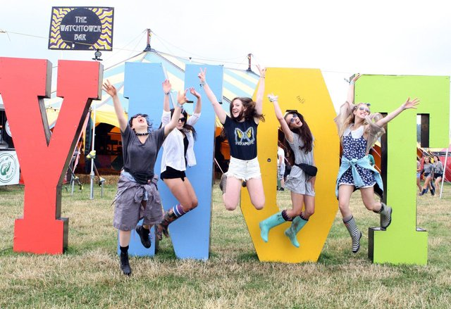 Fran Carvey, Jess Shearar,  Lizzie Scattergood-Farmer, Georgia Roberts and Millie Ward having fun at the Y Not Festival.