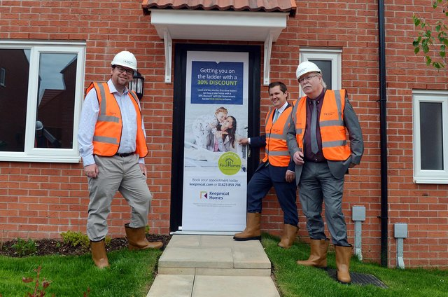 The Secretary of State for Housing RT Hon Robert Jenrick MP visited Shirebrook in the Bolsover district on Friday, June 4,  to mark the launch of the Government's First Homes scheme. Pictured is Mr Jenrick with MP Mark Fletcher and the leader of Bolsover District Council Coun Steve Fritchley.