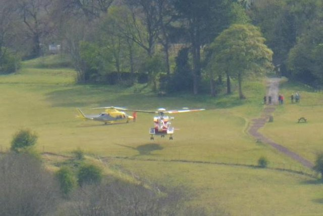 The helicopters at the scene of the incident. Picture by Phil Smith.