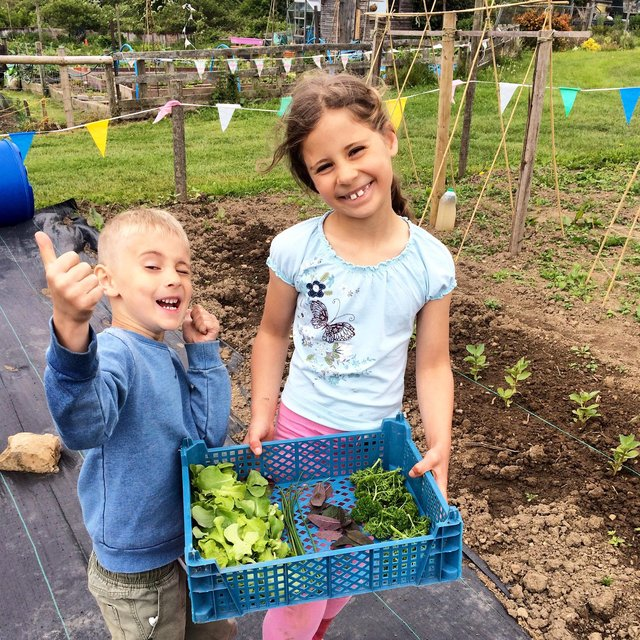 Savannah and Louis show off the first harvest