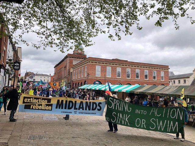 The marchers make their way through Chesterfield town centre.