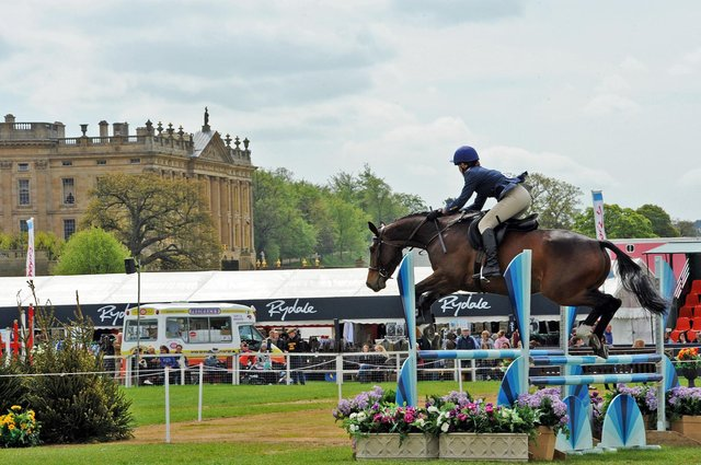 Tracey Wrench on Max in the show jumping competition in the Devonshire Arena on day one of the Dodson and Horrell Chatsworth International Horse Trials.