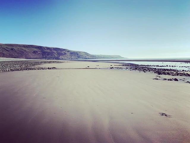 The pristine sands of Fairbourne beach