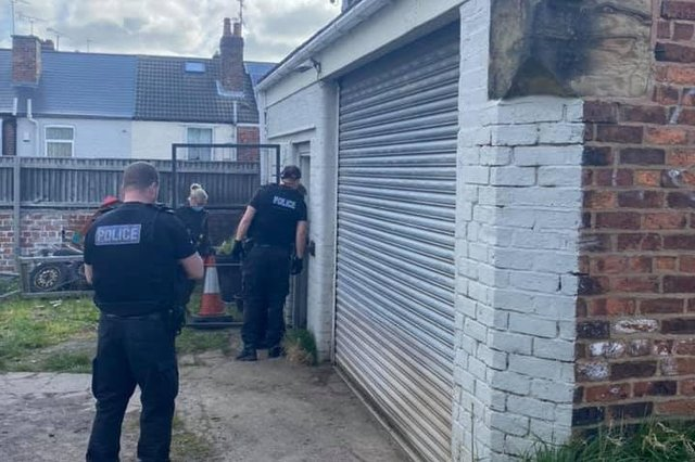 Police carry out a drugs raid in north Derbyshire. Image: Derbyshire Police.