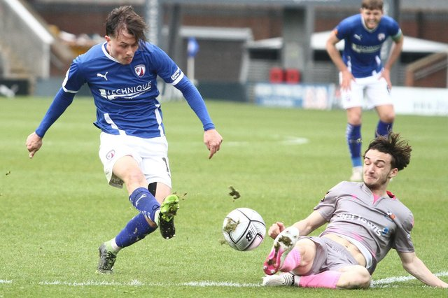Chesterfield were held to a goalless draw by Wealdstone on Saturday: Pictured: Jack Clarke.
