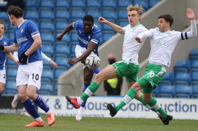 Chesterfield travel to Maidenhead United on Saturday. Akwasi Asante, pictured, has scored in his last two games.