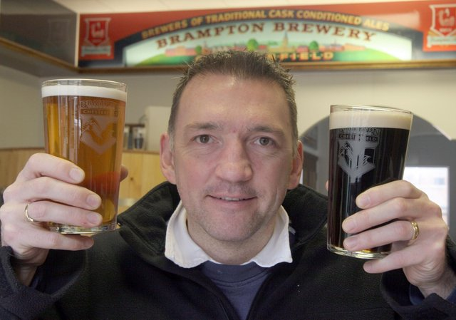 Chris Radford, founder and head brewer at Brampton Brewery, with award-winning beers.