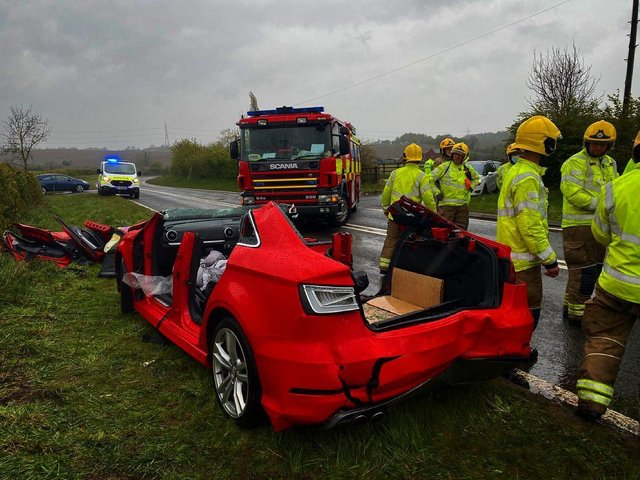Two women had to be cut free from an Audi following a three-car crash on Common Lane, Pleasley Vale. Credit: Shirebrook Fire Station.