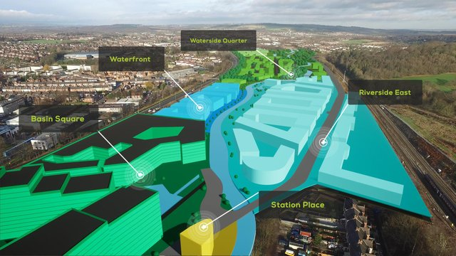 The fly-through video shows how Waterside and its various neighbourhoods will appear when complete.