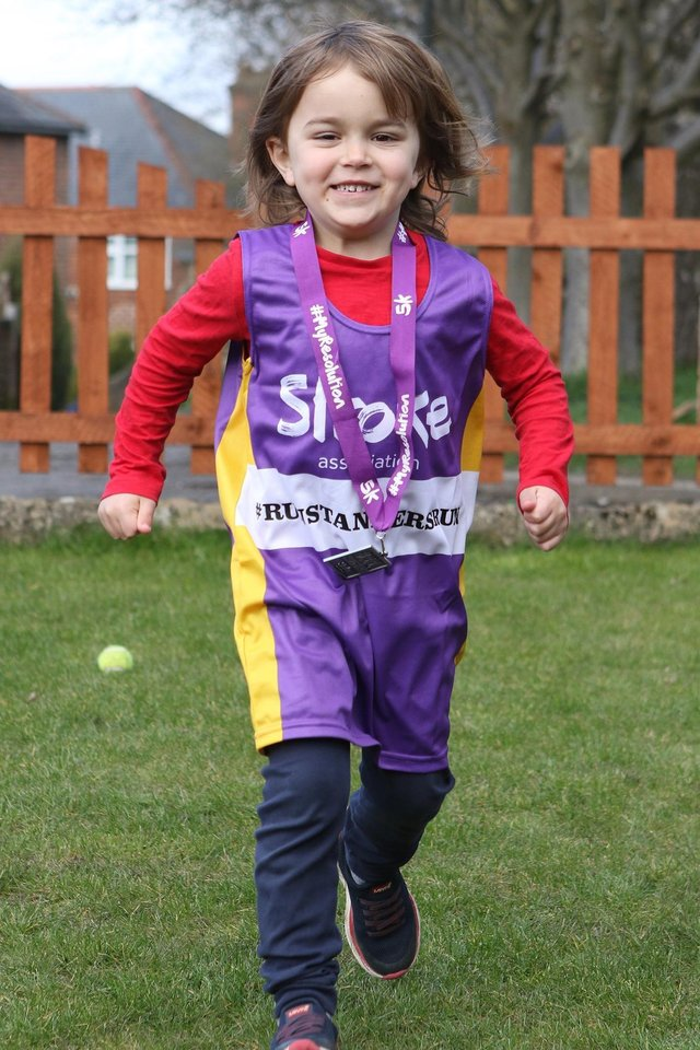Five year old Stanley Redfern has completed a 5k run to raise over £1,300 for the Stroke Association
