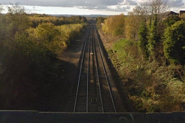 Looking southbound along the Barrow Hill Line from Cavendish Place, Barrow Hill.