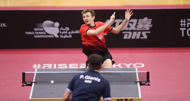 Liam Pitchford during his semi-final win over Gionis Panagiotis at World Singles Qualification Tournament, Doha, Qatar. Pic by ITTF.