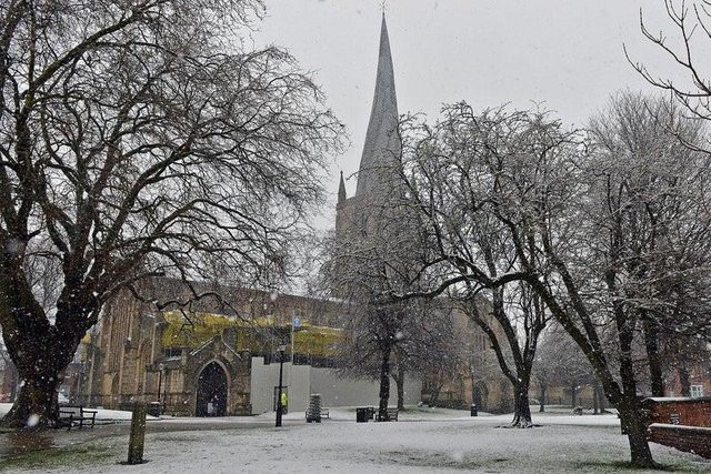 Sleet and snow is predicted to come down over Chesterfield this evening.